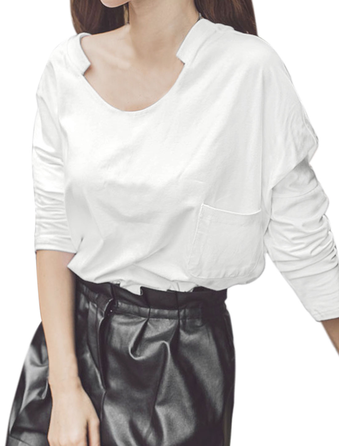 Women Asymmetric Neck Loose High Low Hem Top w Pocket White XS
