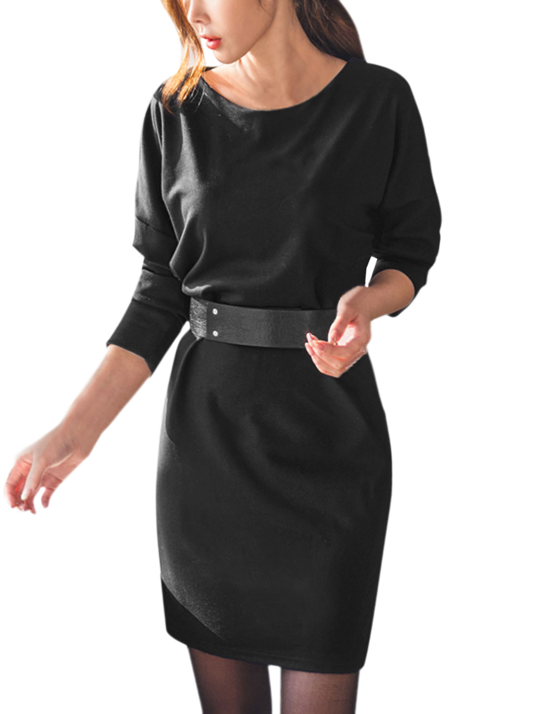 Women Belted Slim Fit Batwing Tunic Dress Black XS