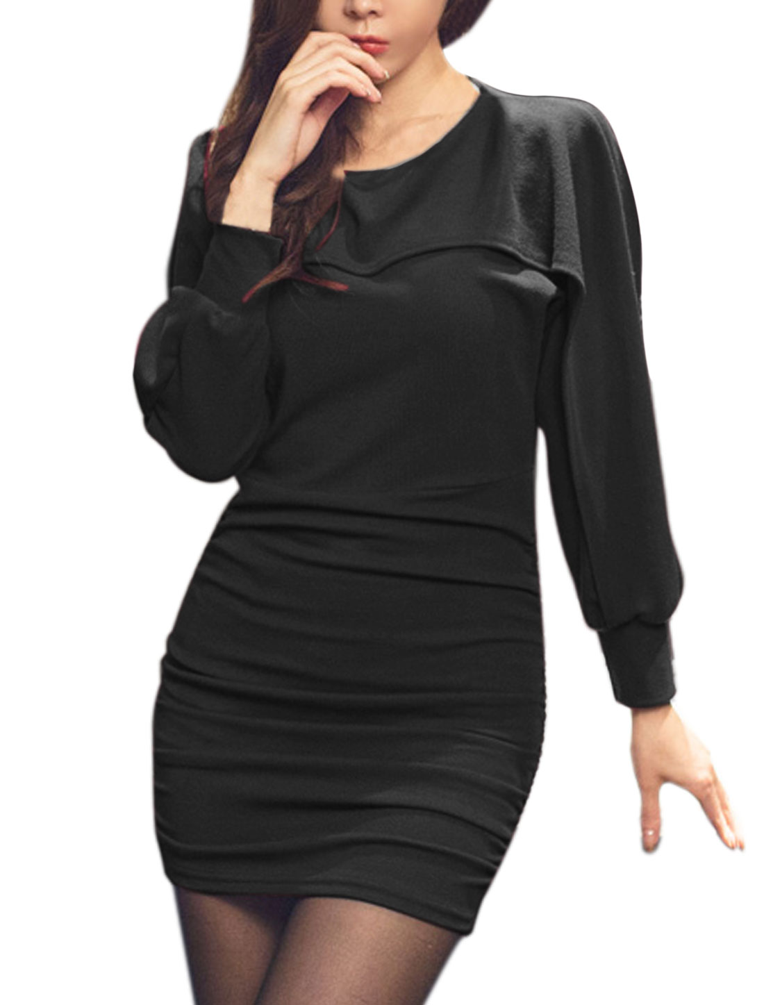 Women Layered Ruched Batwing Wiggle Dress Black M