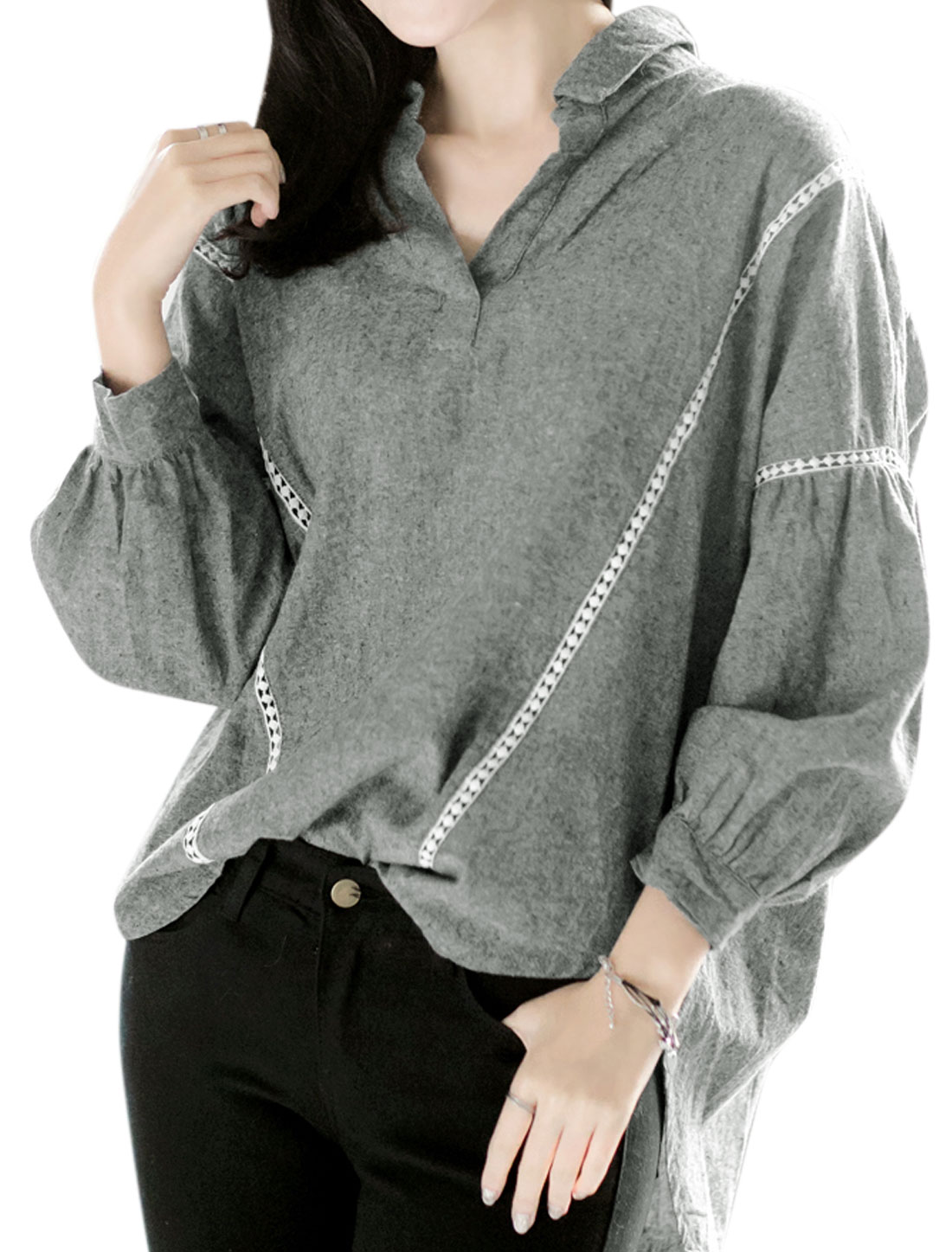 Woman Collared Bishop Hollow Out Low High Hem Blouse Gray XS