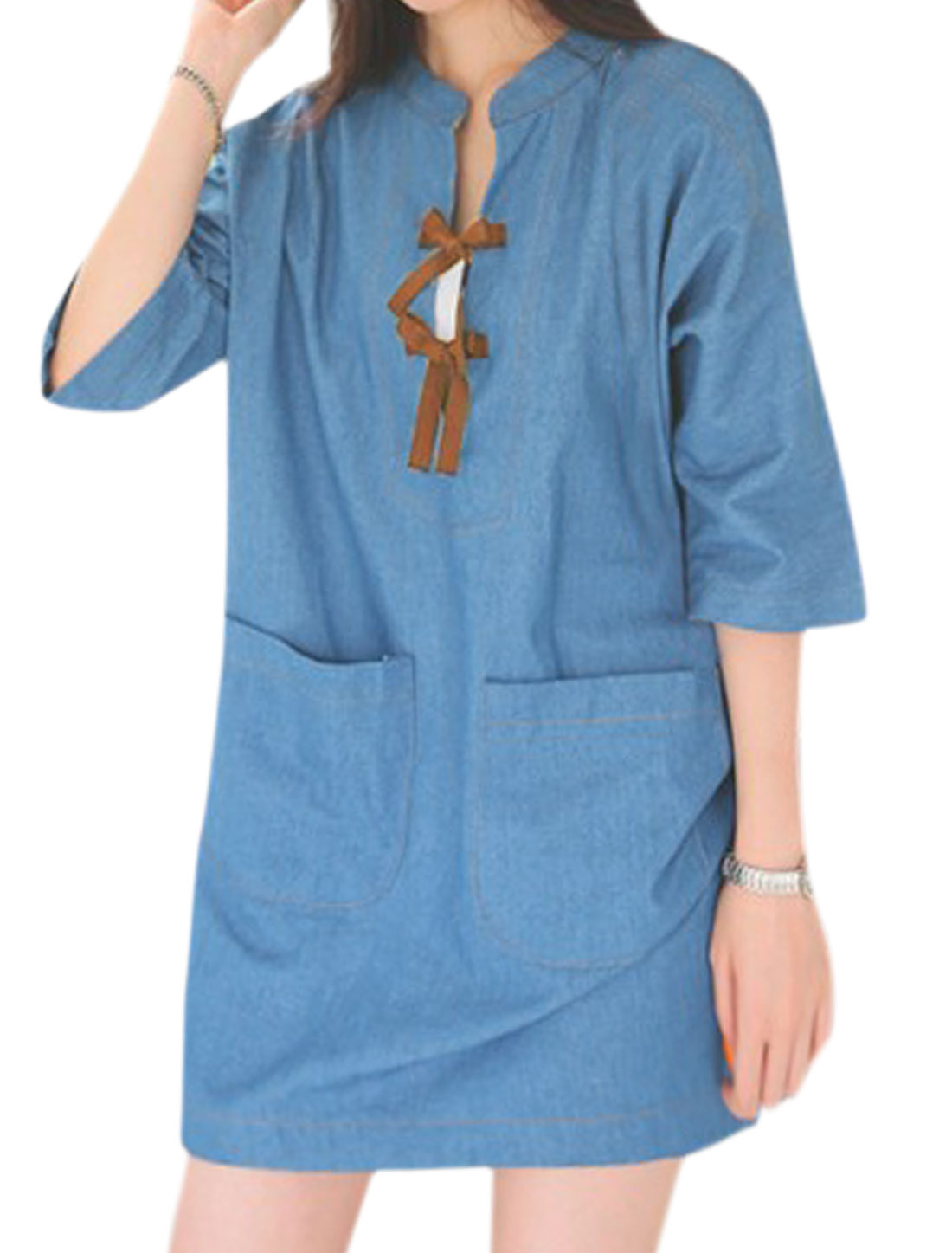 Women Batwing Sleeves Self Tie Front Loose Tunic Dress Blue M