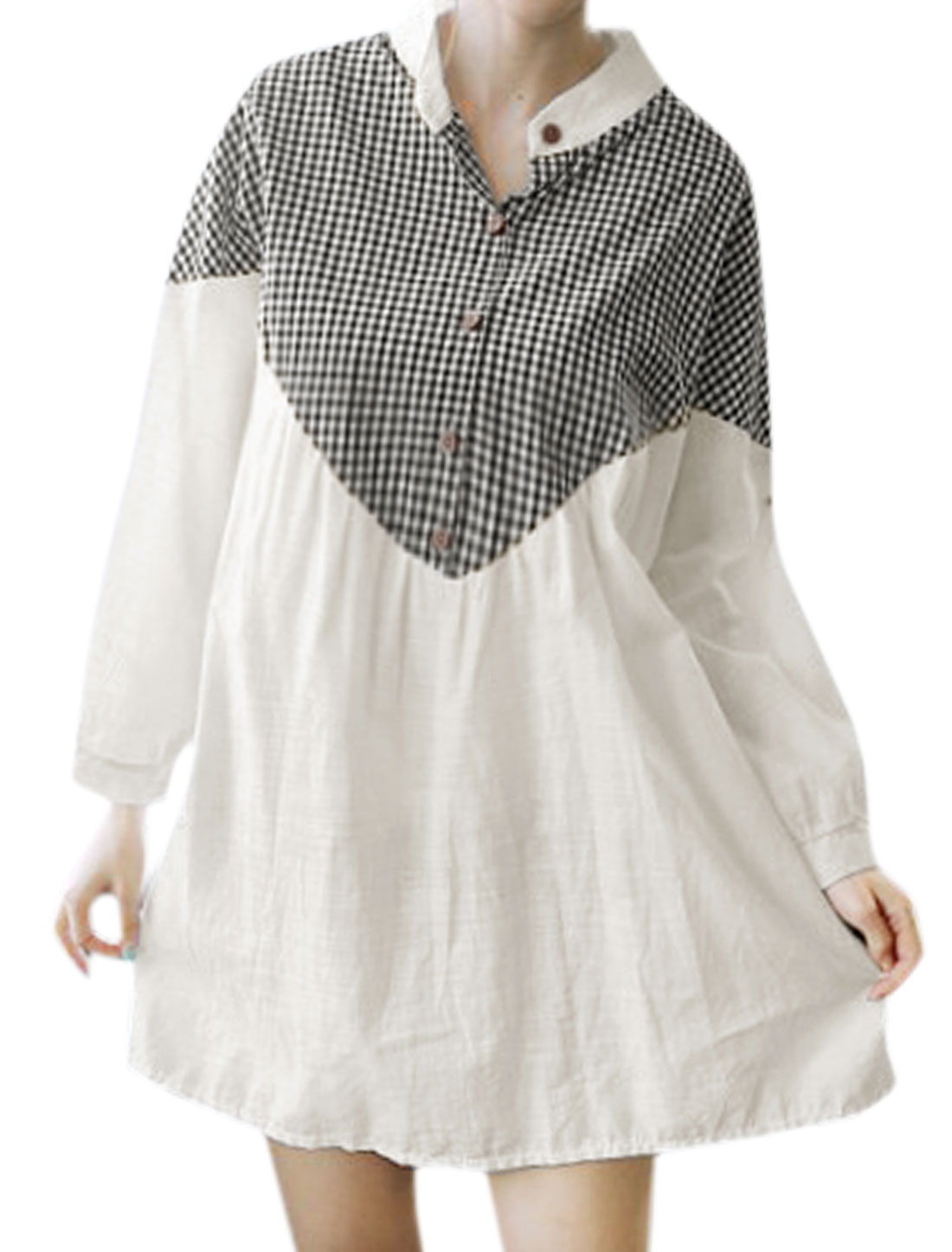 Women Batwing Sleeves Plaids Panel Loose Tunic Blouse White S