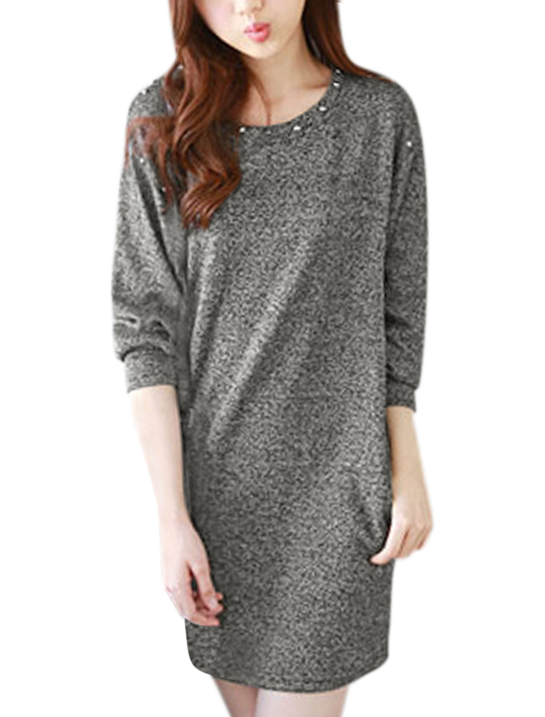 Ladies Batwing Sleeves Drop Shoulder Studs Decor Tunic Knit Dress Light Gray XS