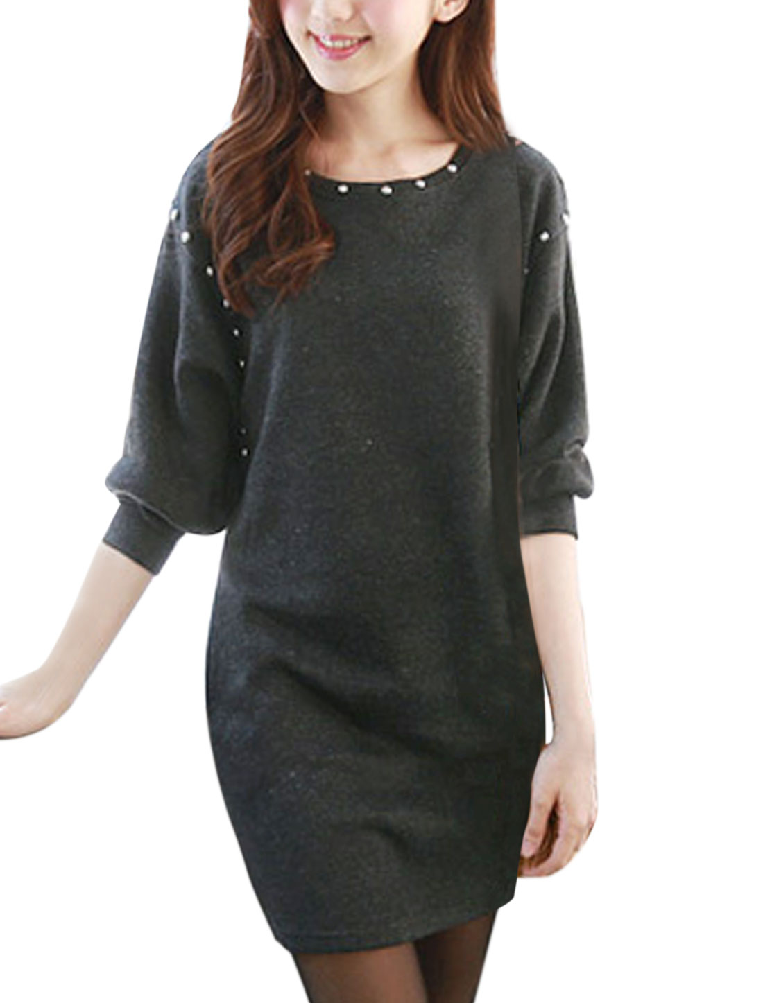 Women Batwing Sleeves Studs Decor Tunic Knit Dress Dark Gray XS