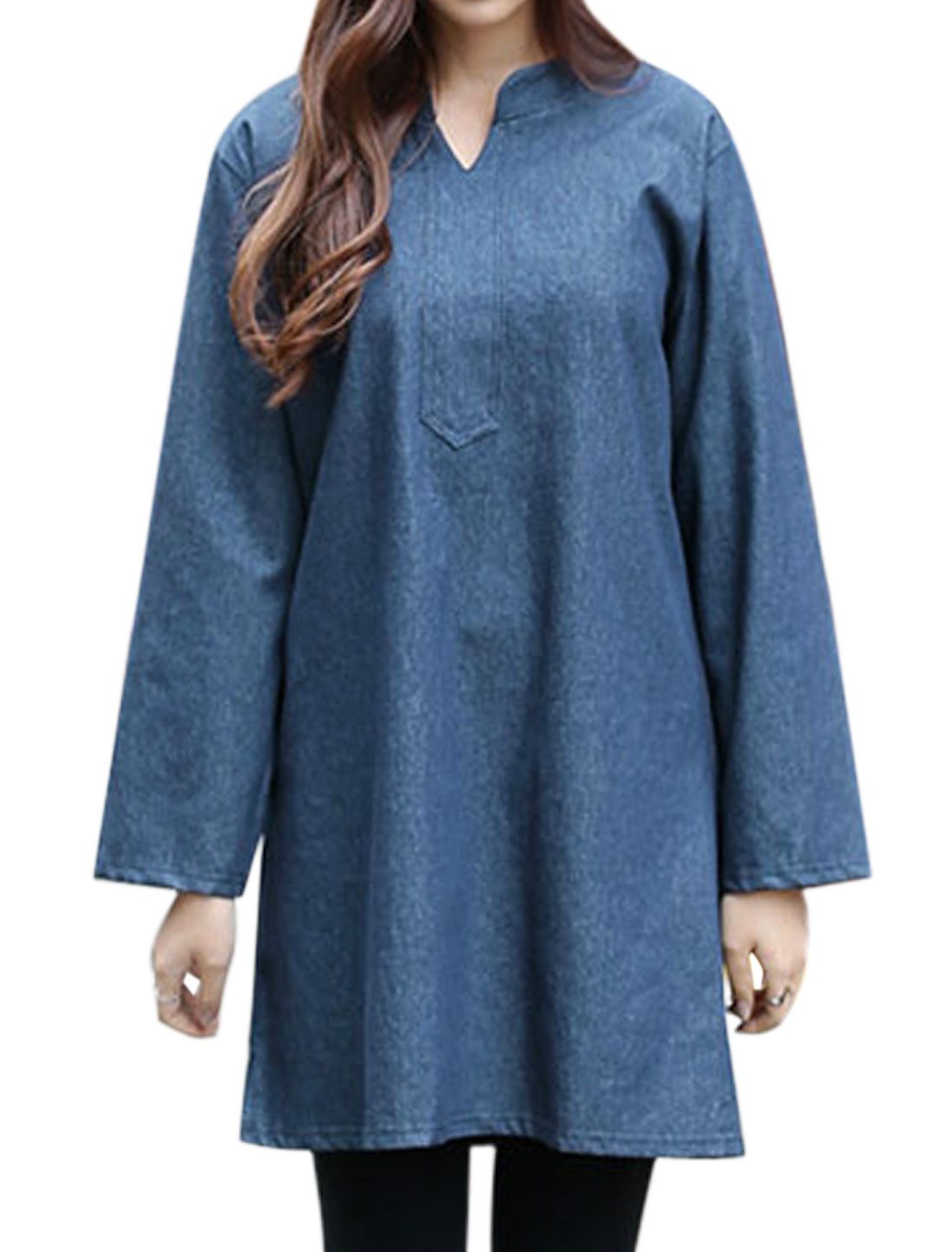 Ladies Long Sleeves Split Neck Loose Tunic Dress Blue M