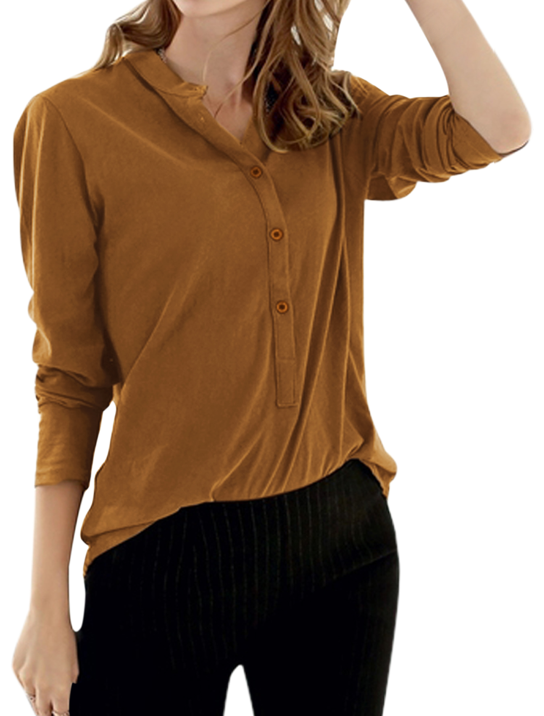 Ladies Collared Half Button Closure Top Brown XS