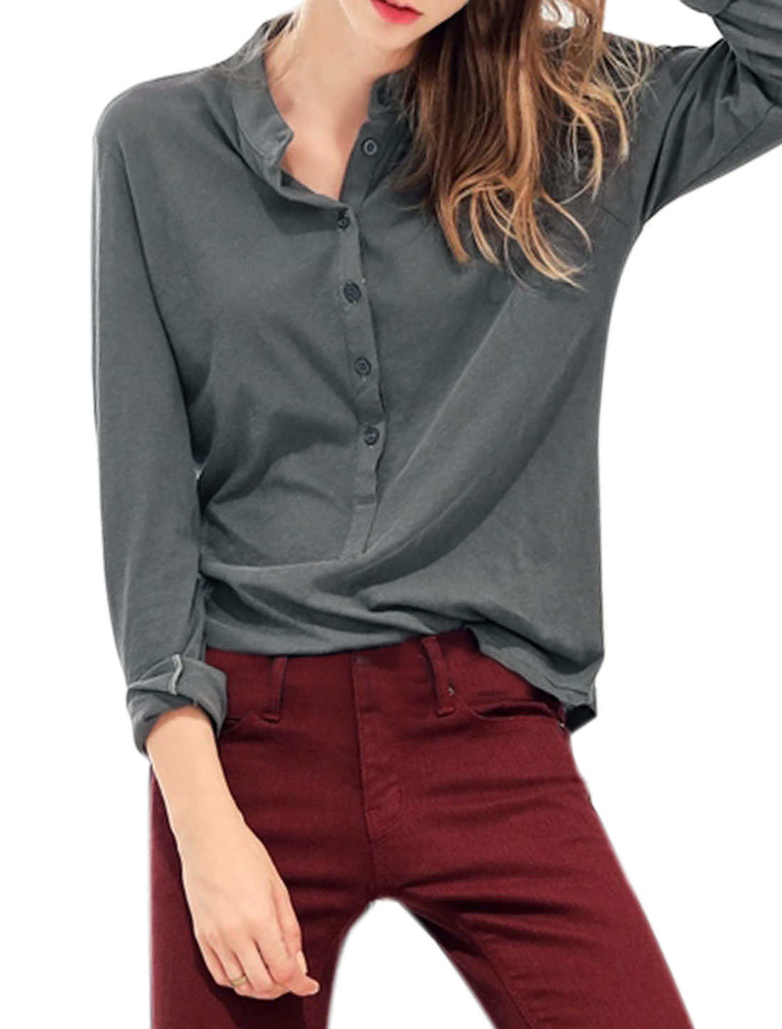 Ladies Collared Long Sleeves Half Button Closure Top Gray XS