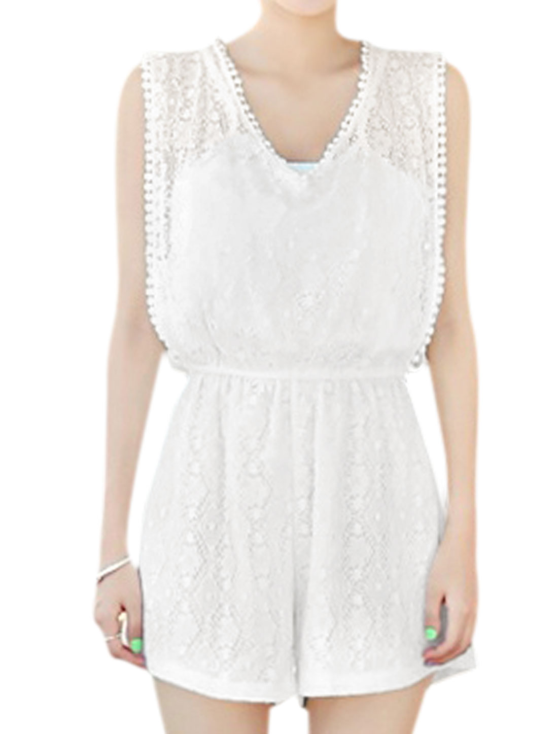 Women V Neck Sleeveless Elastic Waist Lace Romper White XS