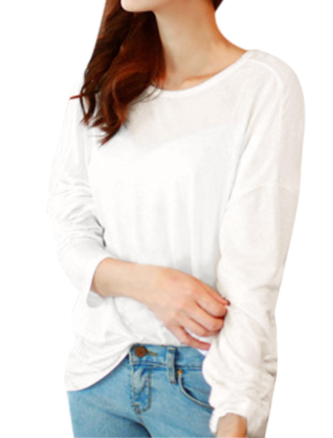Women Scoop Neck Cowls Open Back Batwing Tee Shirt White S