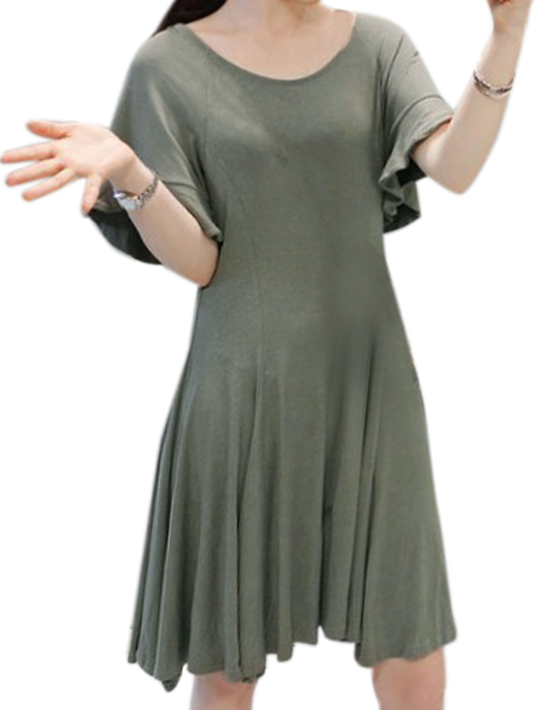 Women Scoop Neck Ruffled Sleeves Fit and Flare Dress Gray XS