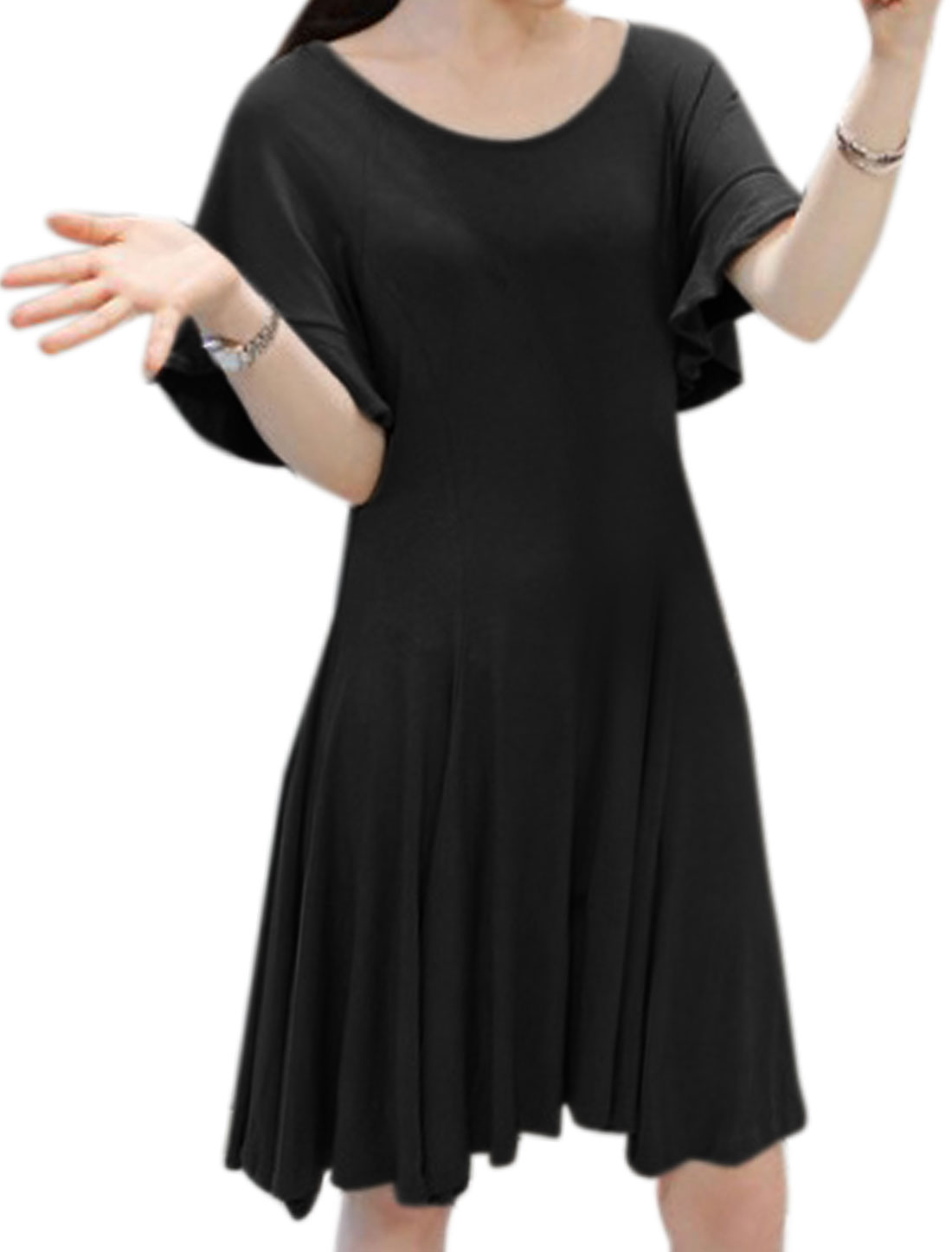 Women Scoop Neck Ruffled Sleeves Fit and Flare Dress Black XS