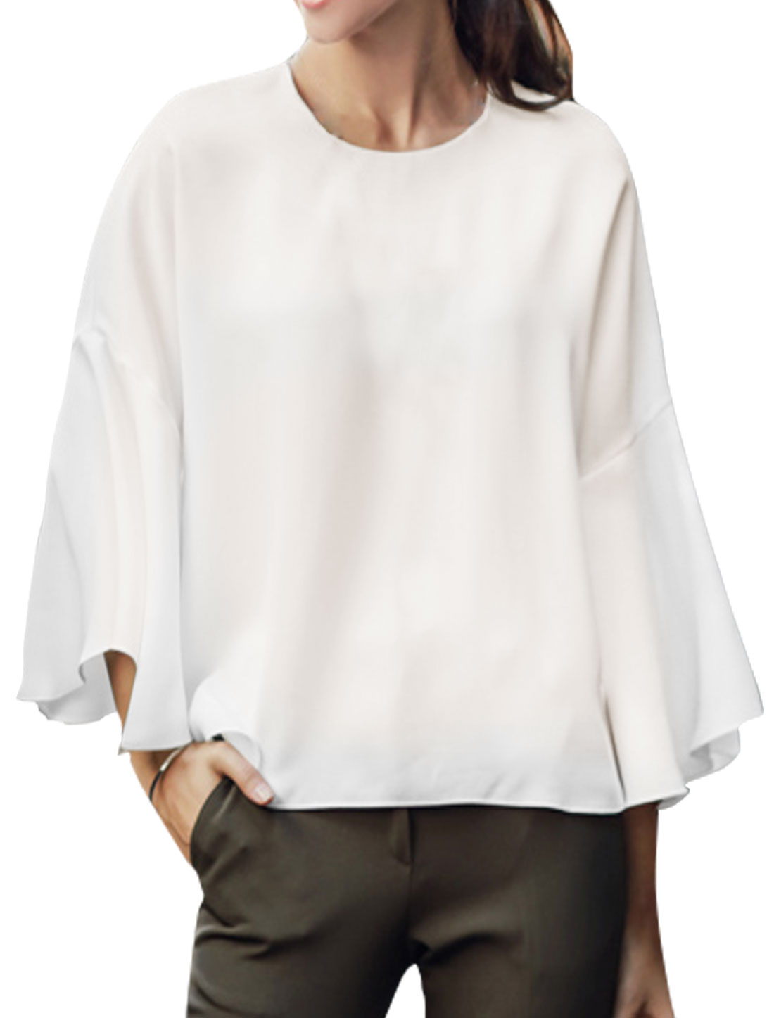Women Round Neck 3/4 Bell Sleeves Semi Sheer Loose Blouse White XS