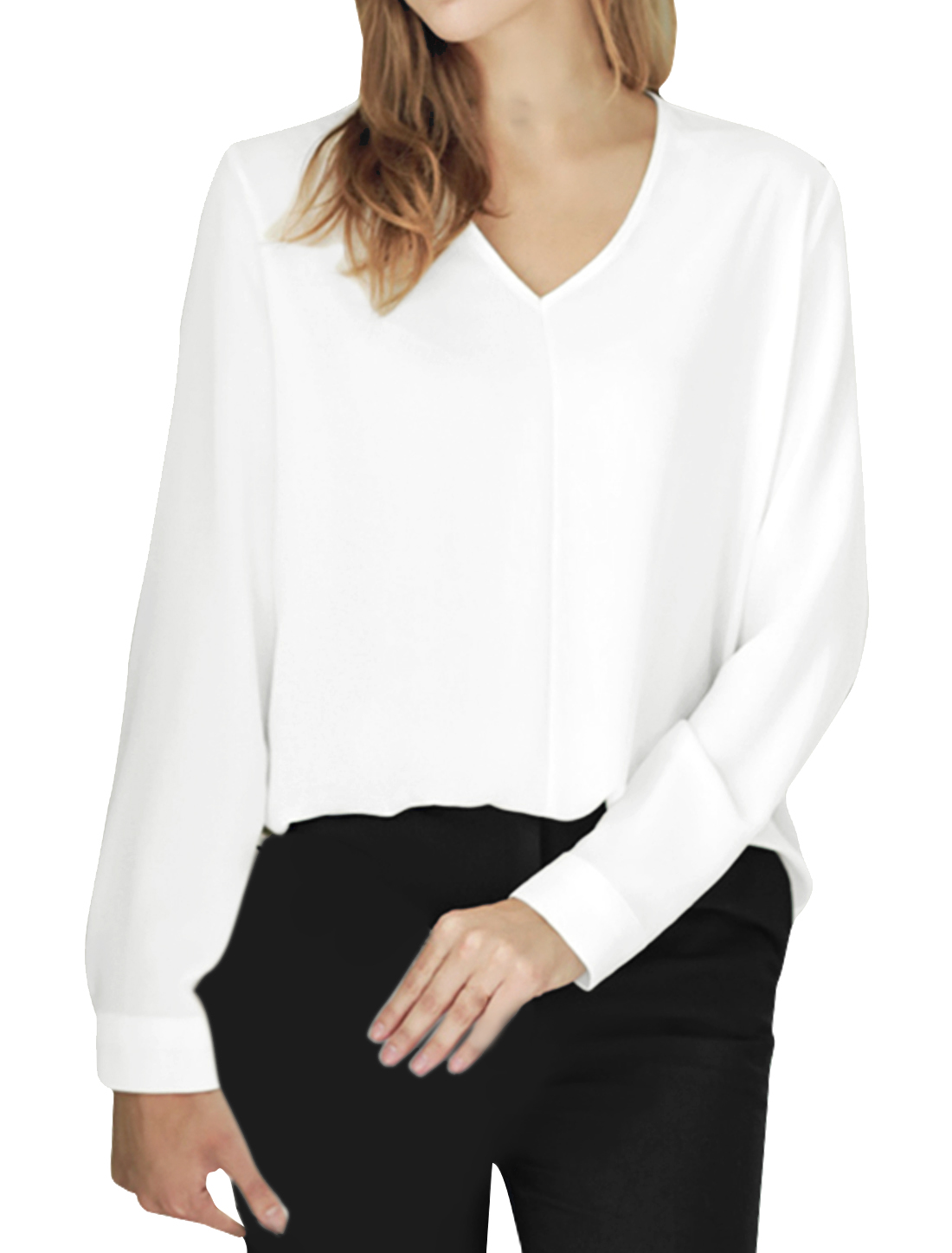 Woman V Neck Long Sleeves Low High Curved Hem Blouse White XS