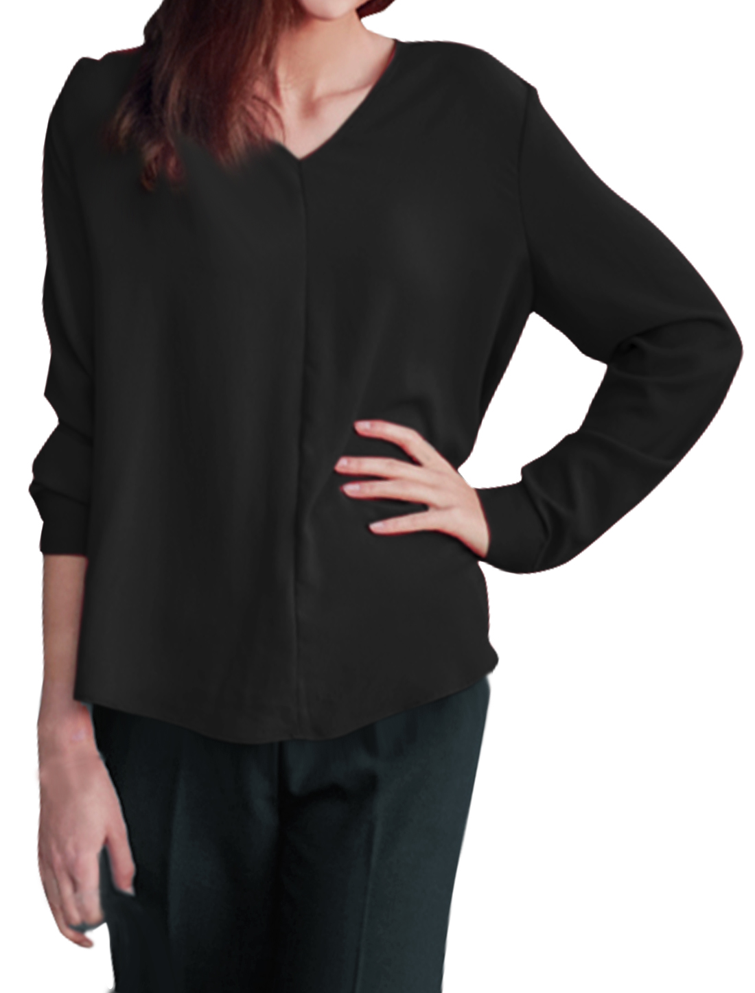 Woman V Neck Long Sleeves Low High Curved Hem Blouse Black XS
