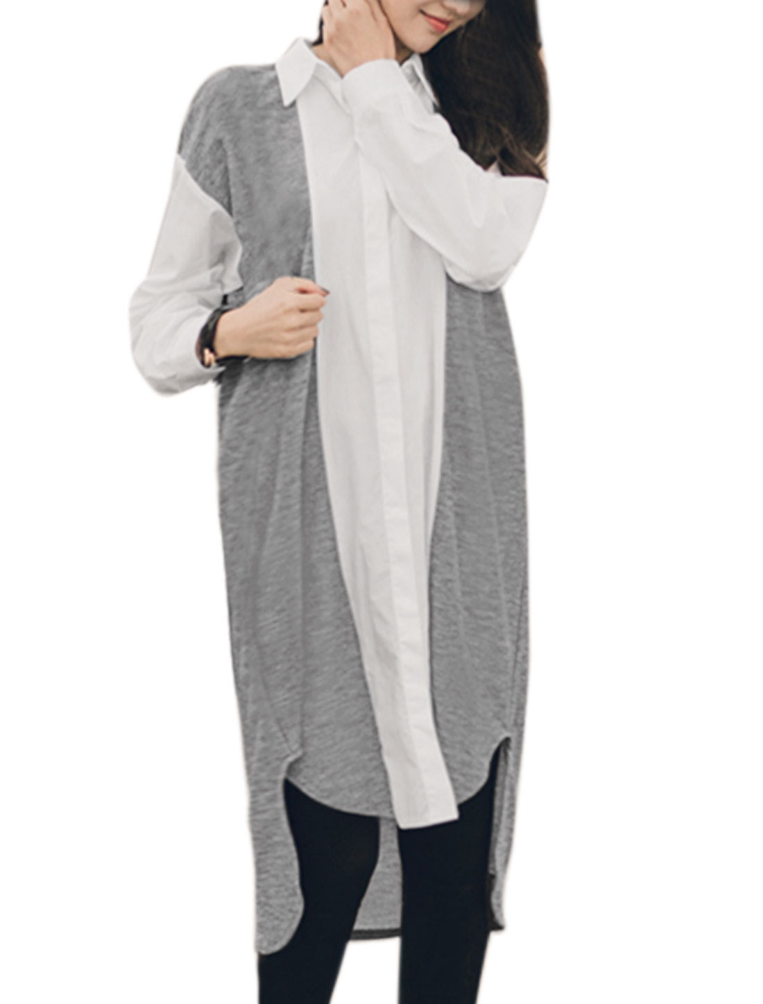 Women Color Block Paneled Hi-Lo Hem Loose Tunic Shirt Gray XS
