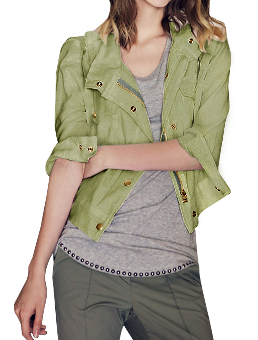 Ladies Collared Button Zip Crop Jacket w Pockets Green XS