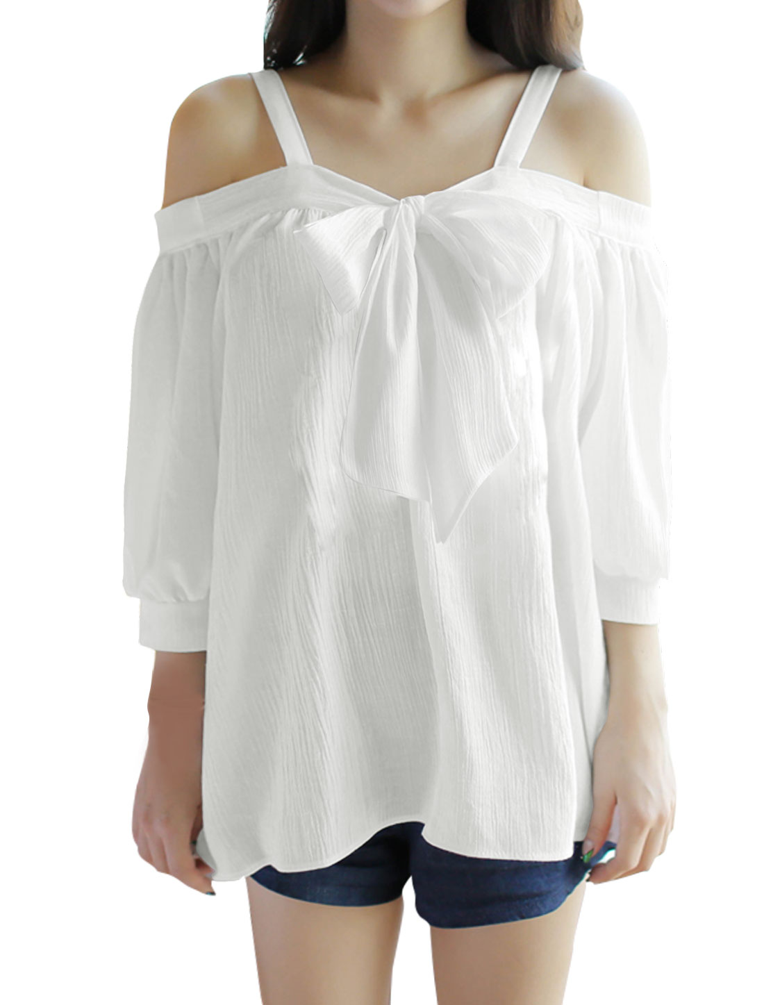 Women Cold Shoulder Bowknot Loose Blouse White XS