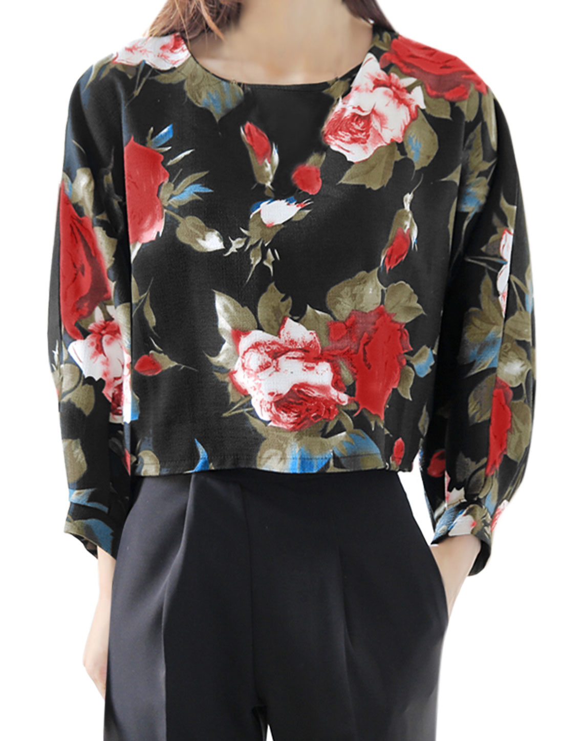 Women Round Neck Batwing Loose Floral Crop Top Black S
