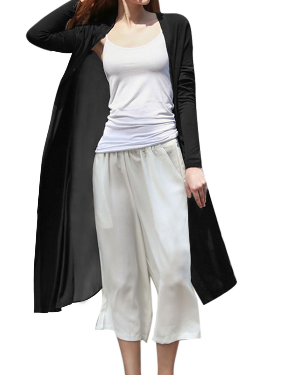 Woman Open Front Chiffon Split Sides Draped Long Cardigan Black XS