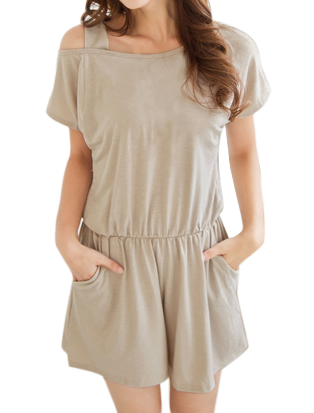 Women One Cut Out Shoulder Batwing Sleeves Loose Romper Beige XS