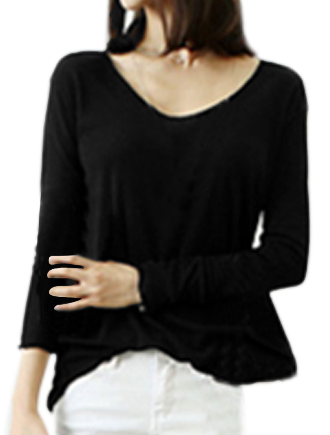 Women V Neck Long Sleeves High Low Hem Tunic Top Black XS