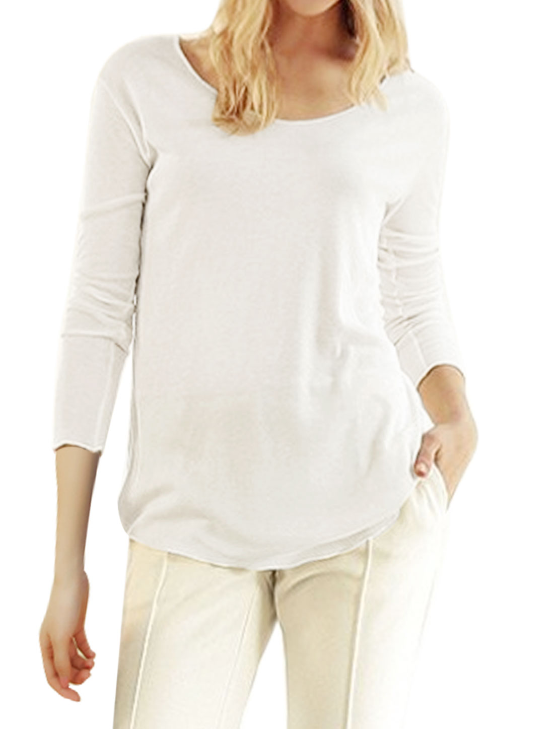 Women V Neck Long Sleeves High Low Hem Tunic Top White XS