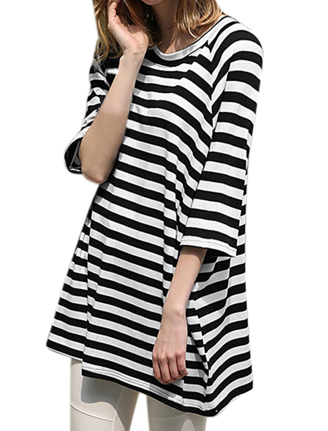 Woman Round Neck 3/4 Sleeves Stripes Tunic T-Shirt Black White XS