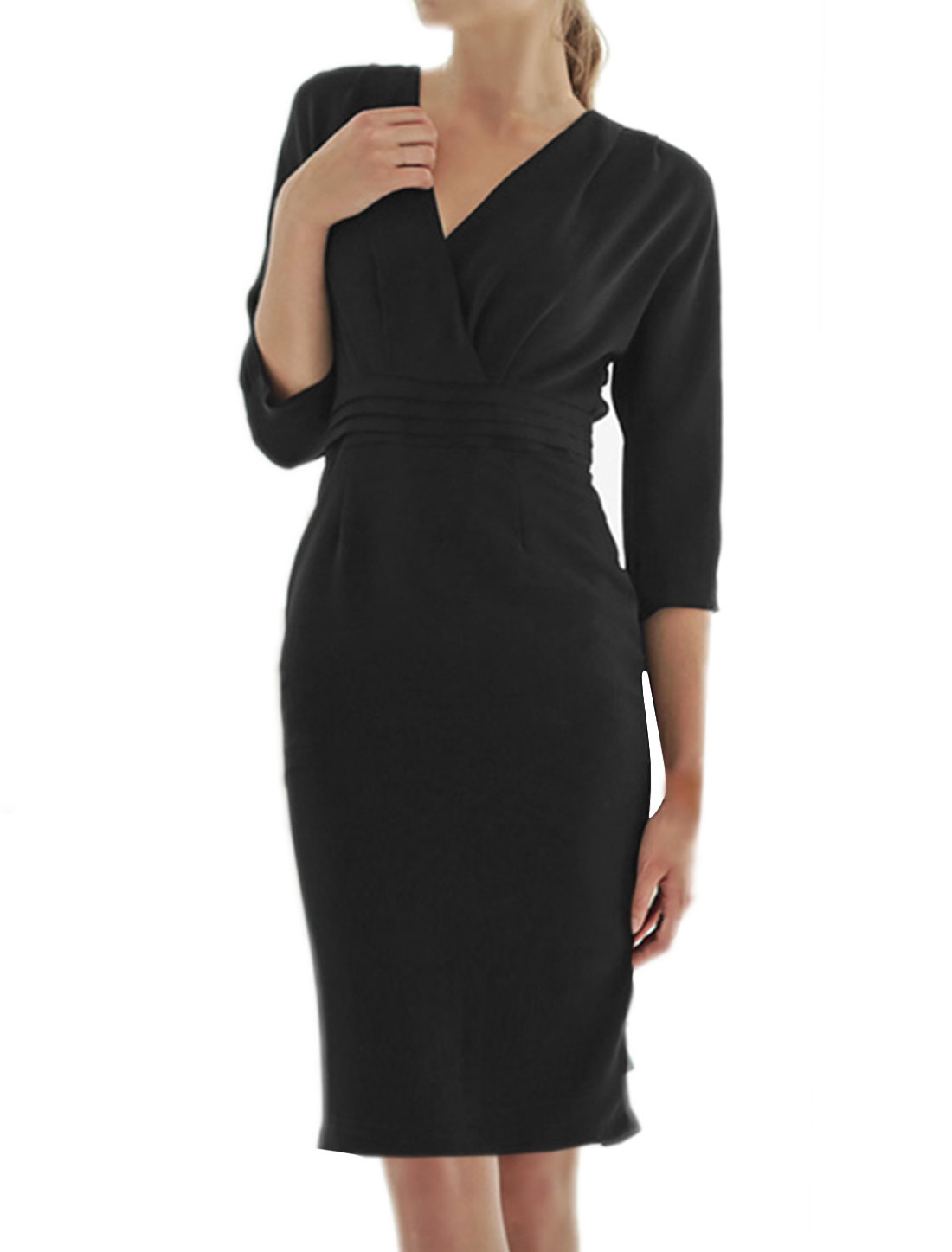 Ladies Crossover V Neck 3/4 Sleeves Pencil Dress Black XS