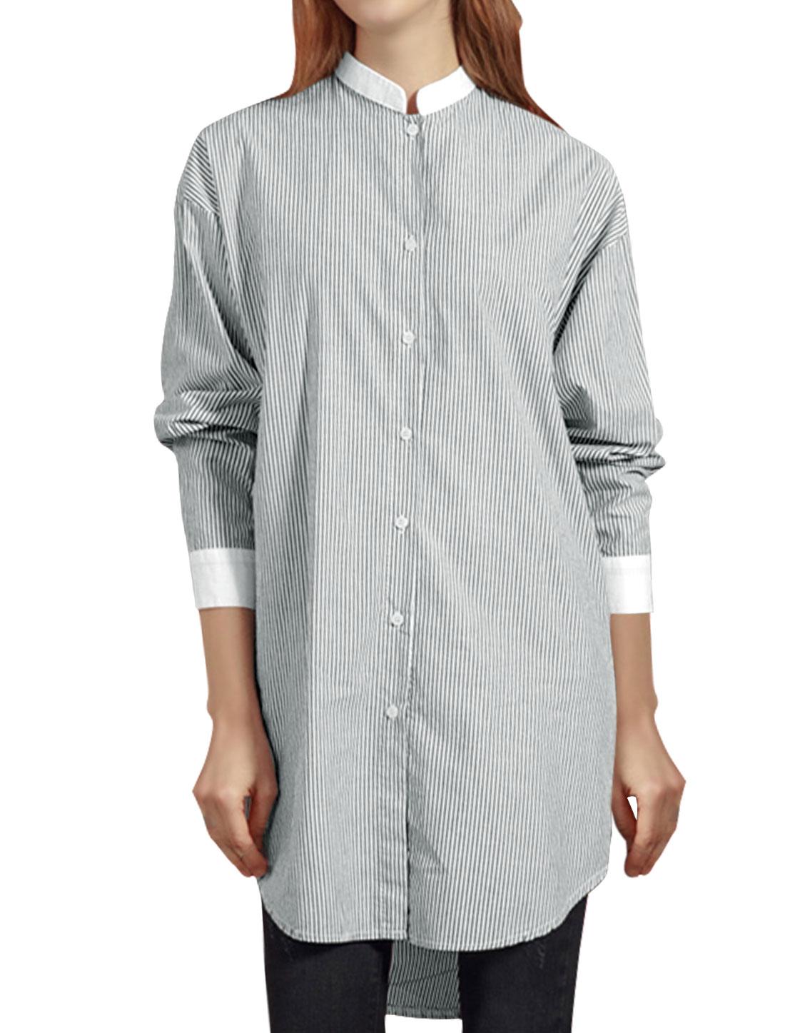 Woman Dolman Stripes Low High Hem Loose Tunic Shirt Black S