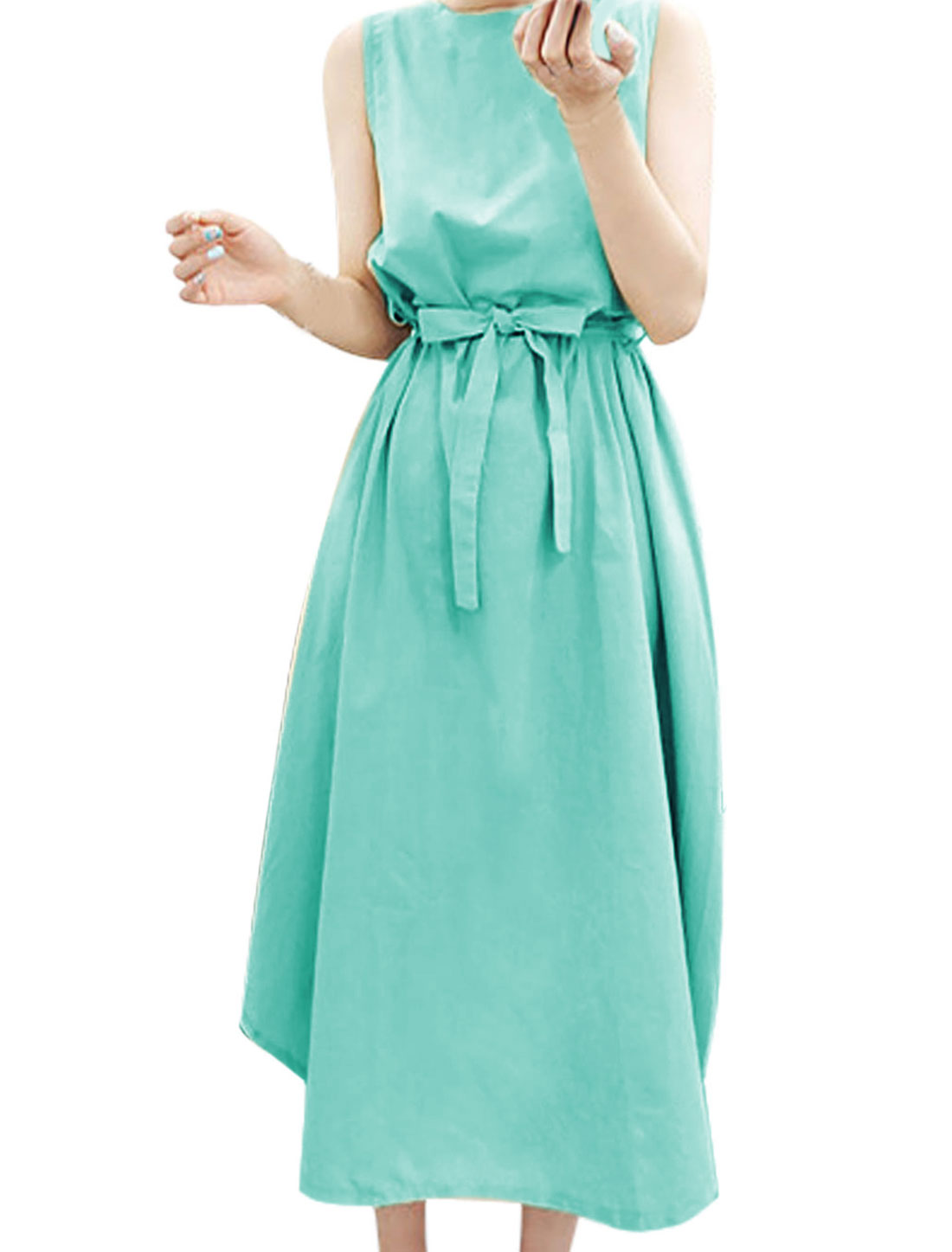 Woman Sleeveless Button Closed Back Dress w Waist String Blue XS