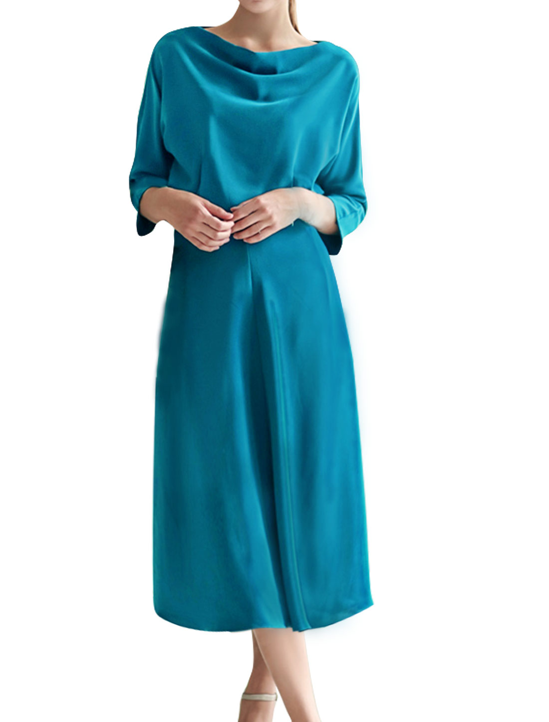 Woman Cowl Neck Batwing Button Closed Back Midi Dress Blue M