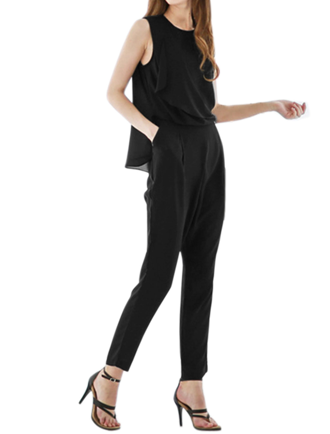 Women Crew Neck Sleeveless Layered Back Overlay Jumpsuit Black XS