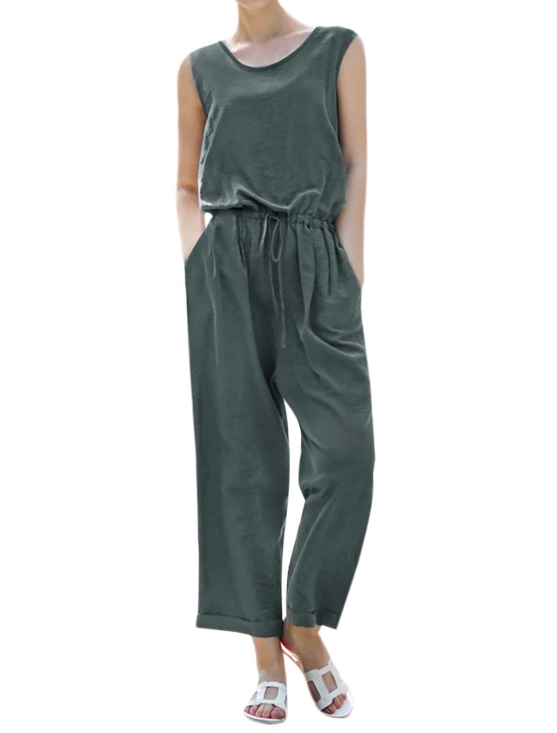 Women Sleeveless Split Back Drawstring Waist Loose Jumpsuit Gray XS