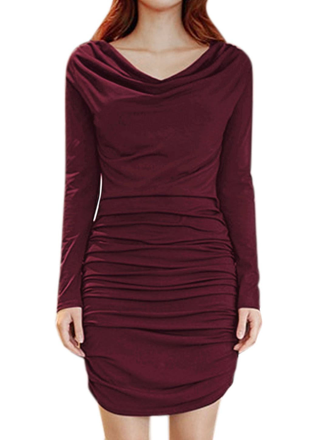 Women Cowl Neck Two-Way Wearing Mini Ruched Bodycon Dress Purple XS
