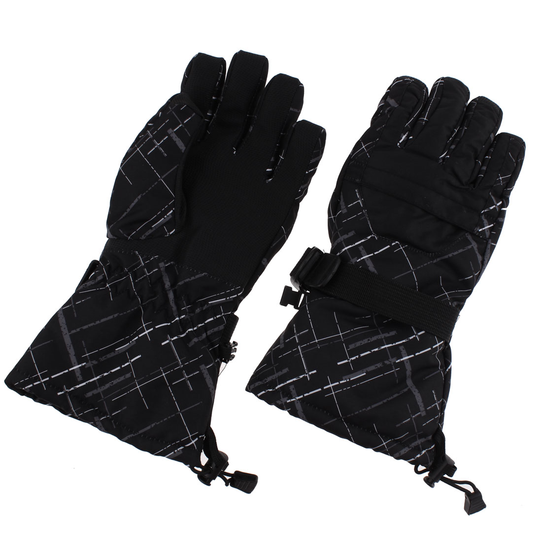 Women Winter Outdoor Ski Snowboard Full Finger Gloves Black Graffiti M Pair