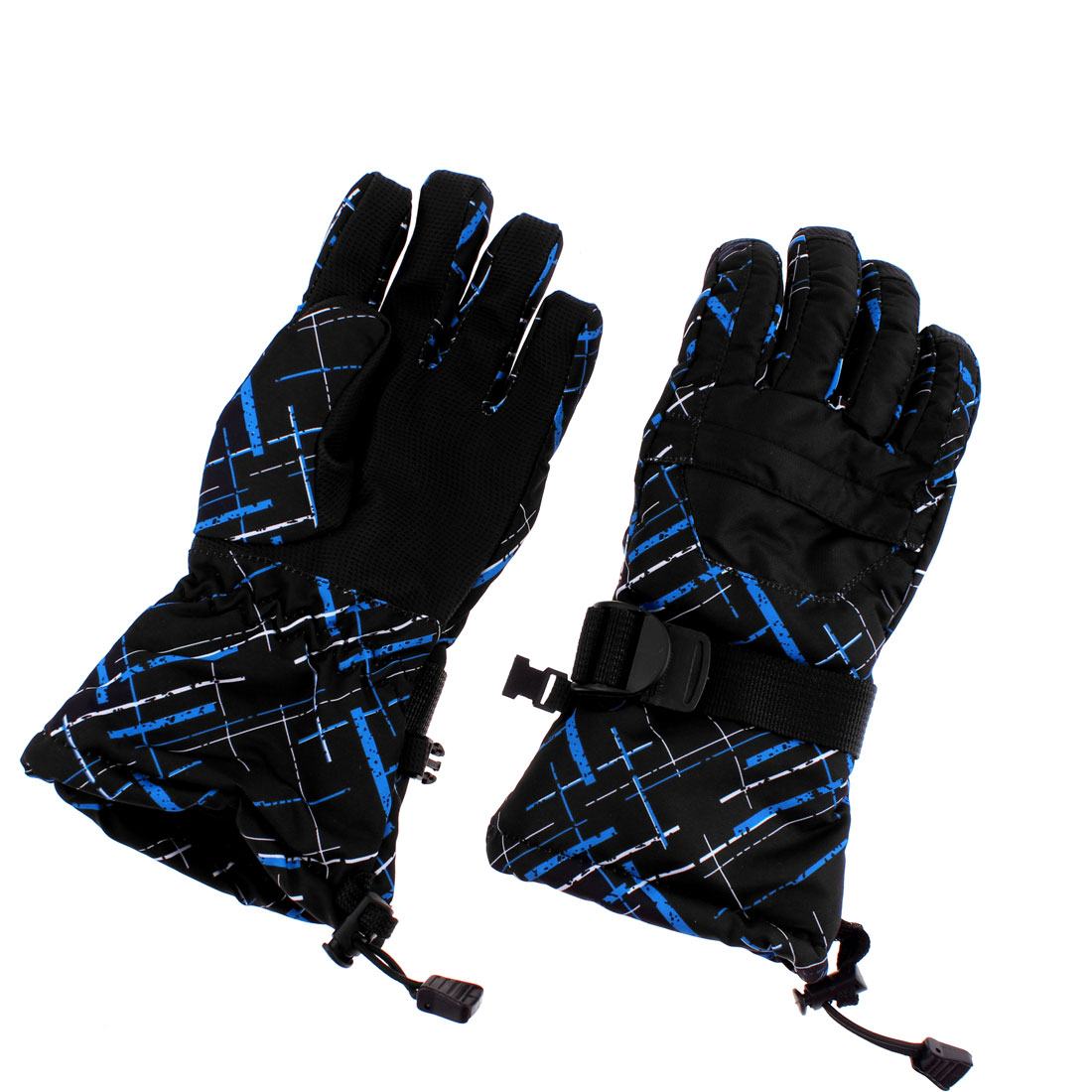 Women Winter Outdoor Ski Snowboard Full Gloves Black Blue Graffiti M Pair