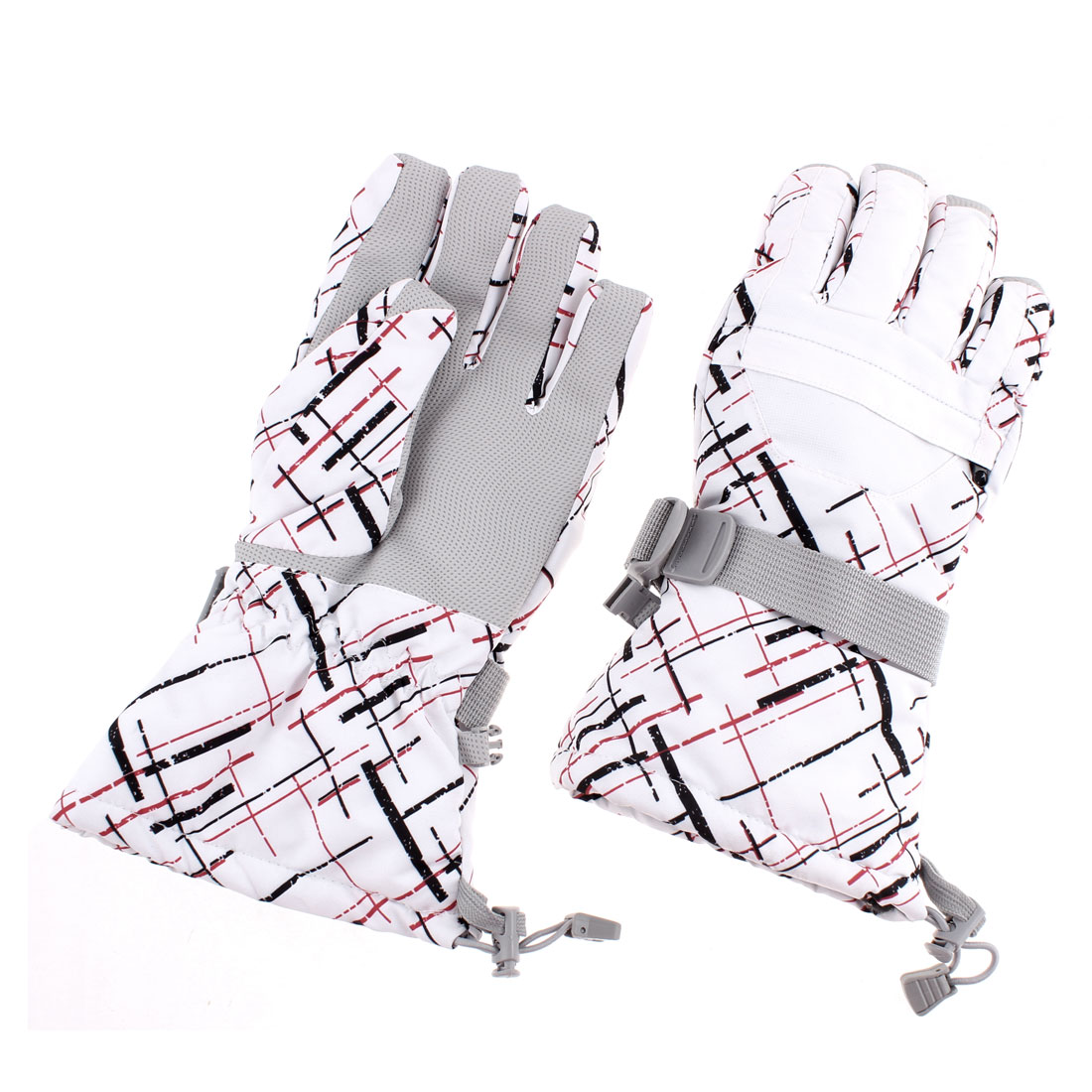 Women Winter Sport Ski Snowmobile Snowboard Gloves White Graffiti M Pair