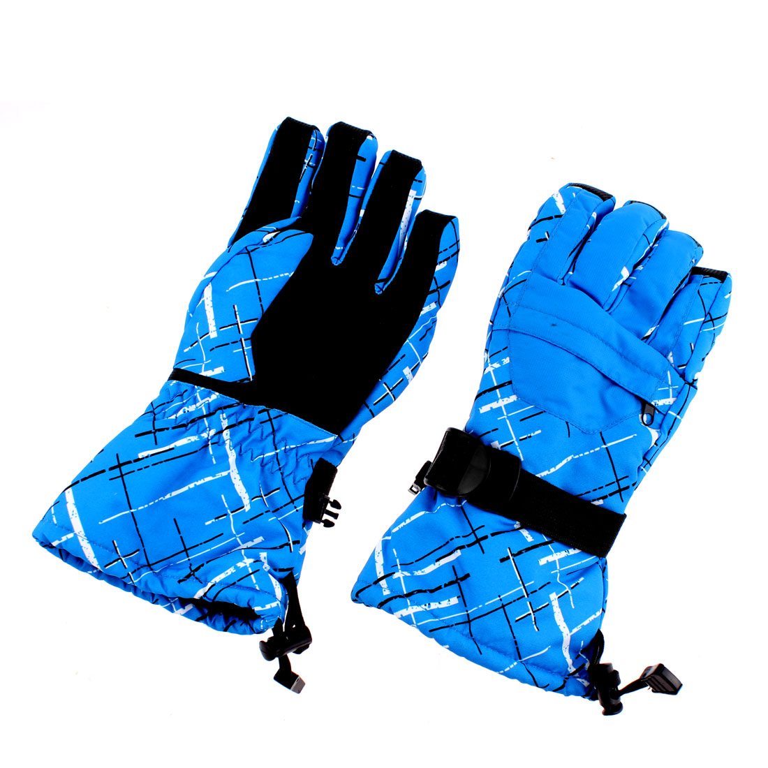 Men Winter Hiking Ski Snow Snowboarding Gloves Blue Graffiti XL Pair