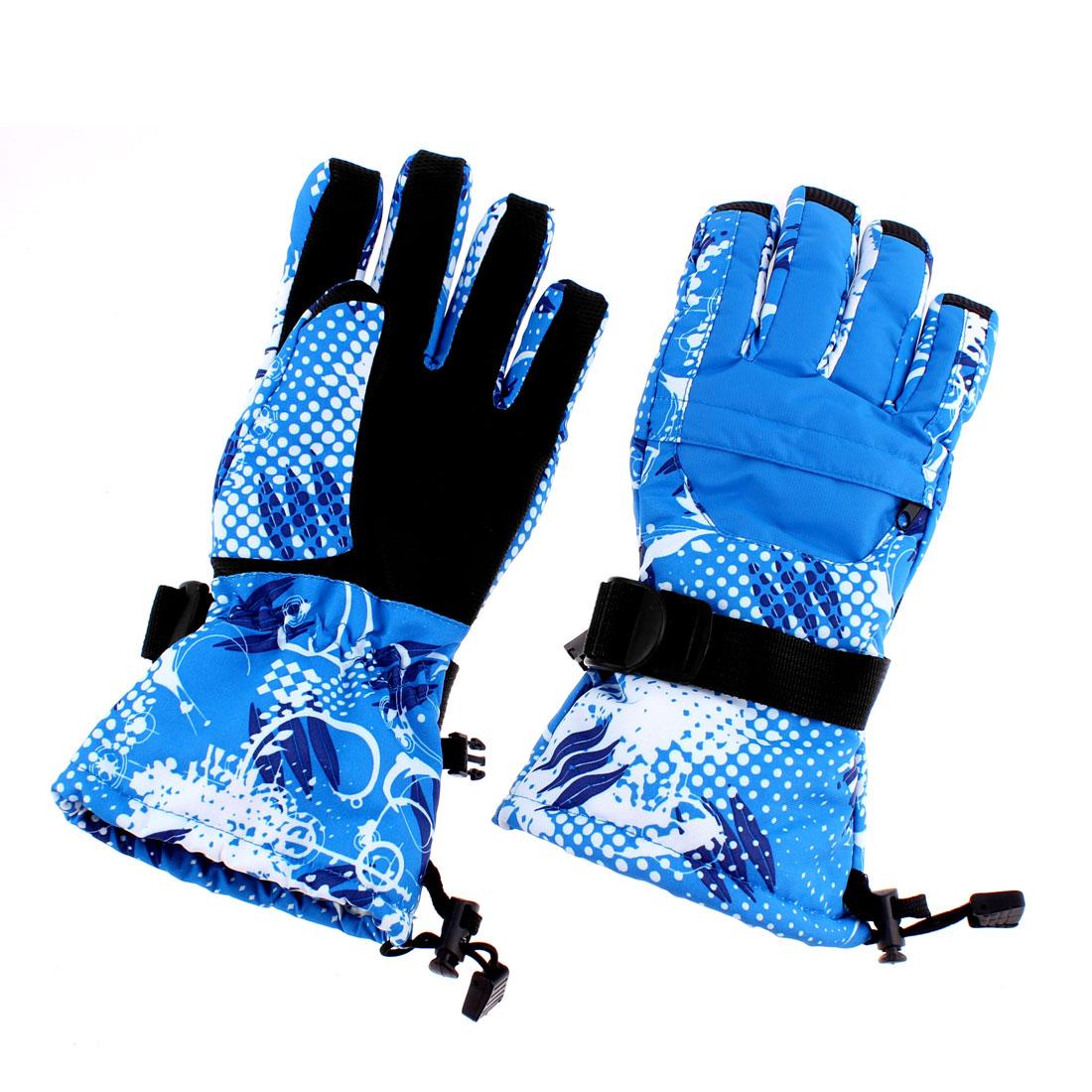 Women Winter Sports Snow Snowboard Ski Gloves Blue M Pair