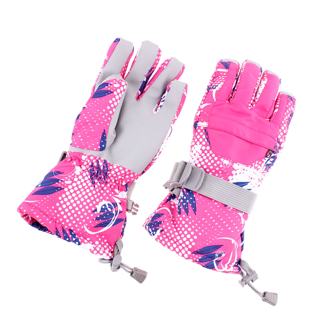 Women Winter Outdoor Sports Ski Full Finger Gloves Fuchsia M Pair