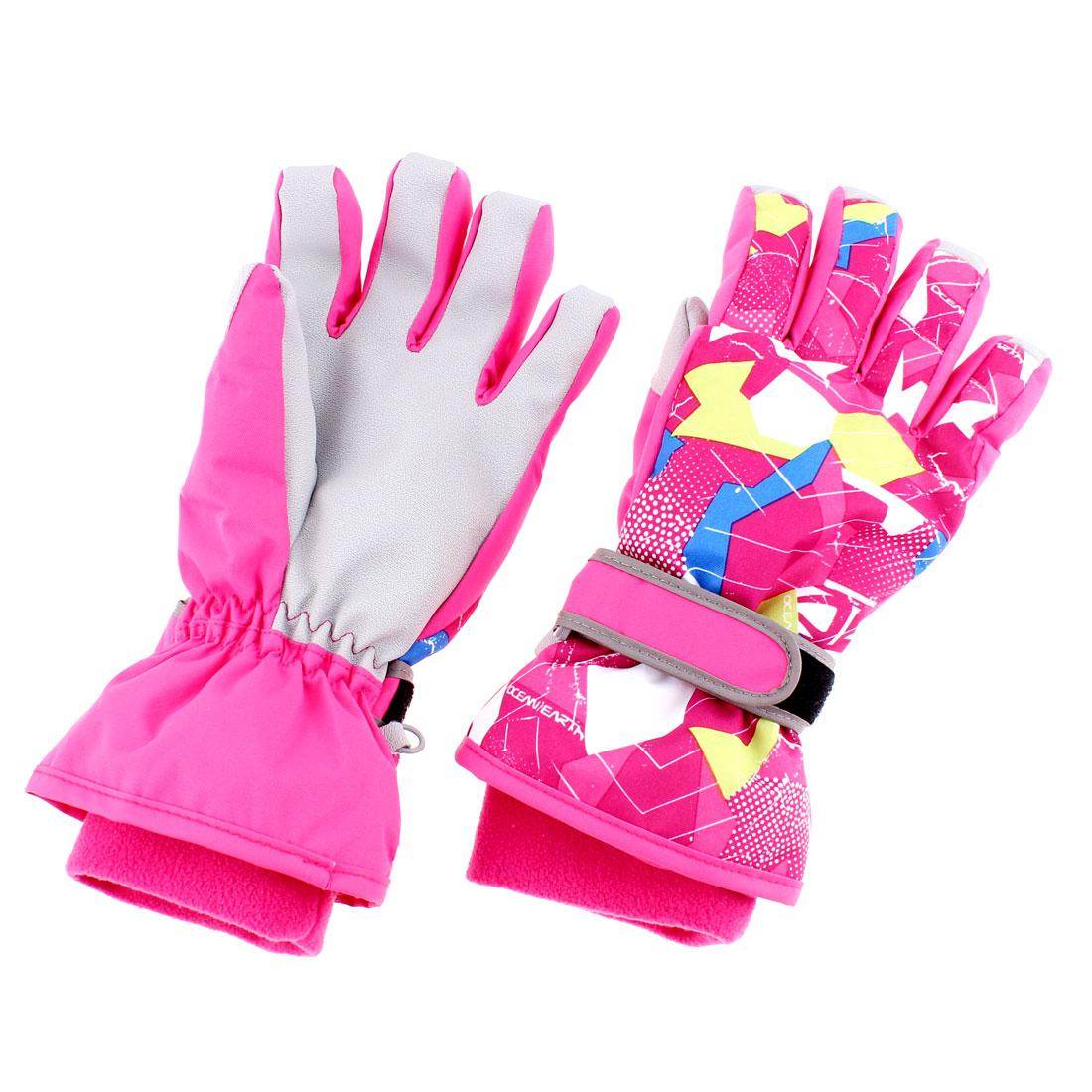 Kids Winter Outdoor Sports Ski Snowboard Gloves Fuchsia XS Pair