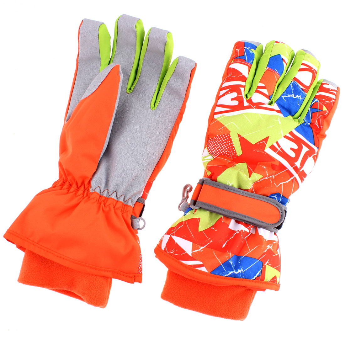 Kids Winter Outdoor Sports Ski Gloves Orange XS Pair
