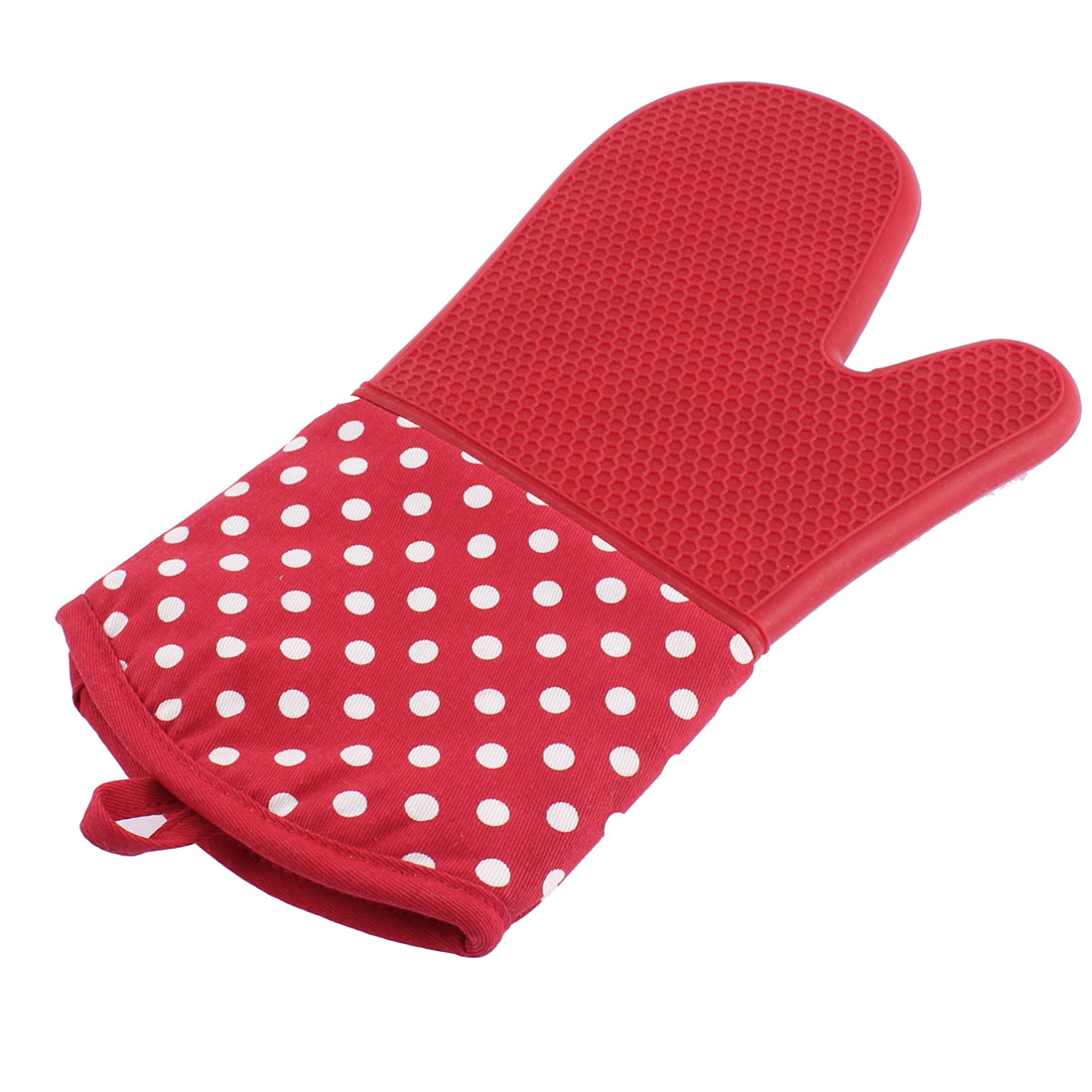 Home Kitchen Dots Pattern Non Slip Heat Resistance Mitt Glove Red