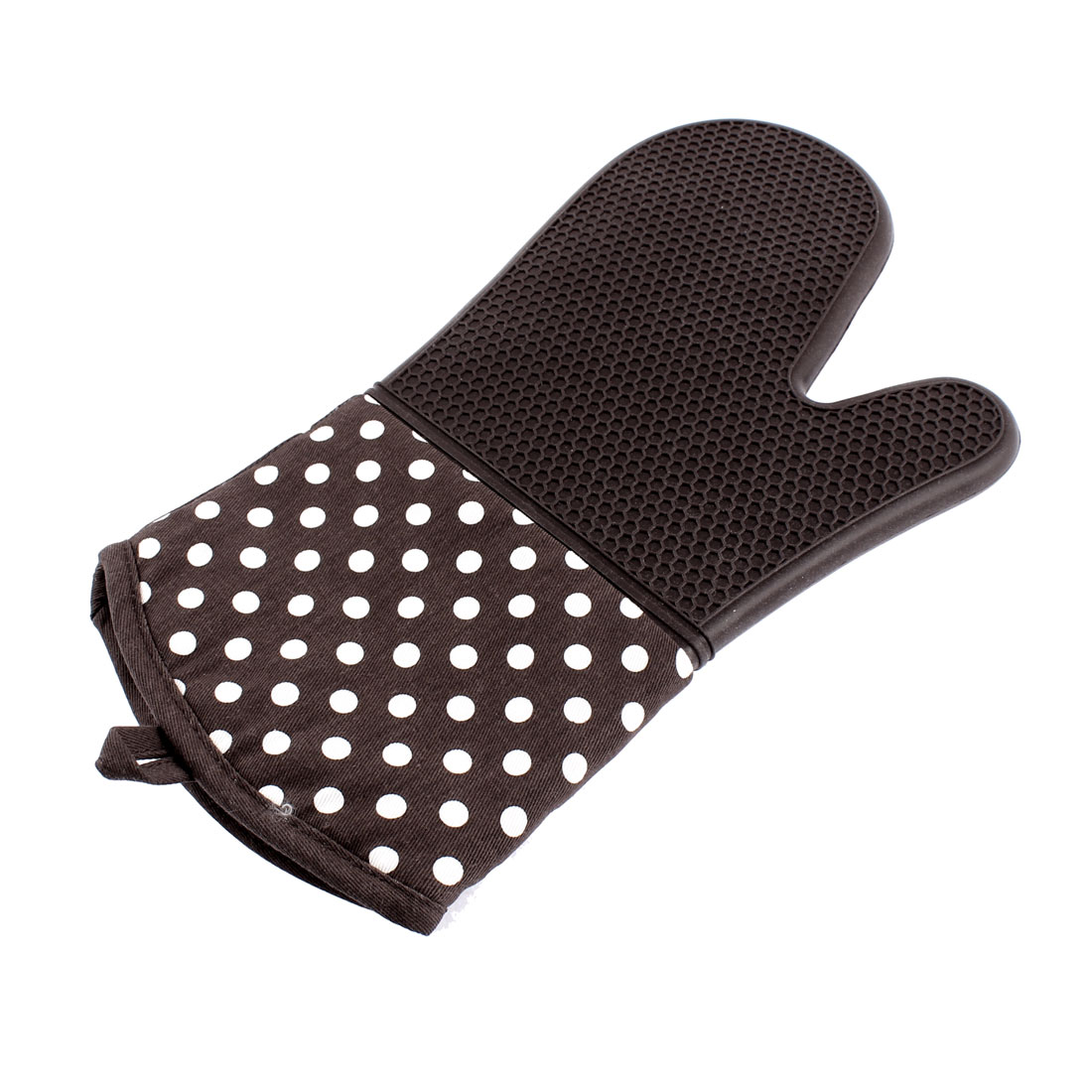 Dots Pattern Non Slip Heat Resistance BBQ Oven Mitt Glove Coffee Color