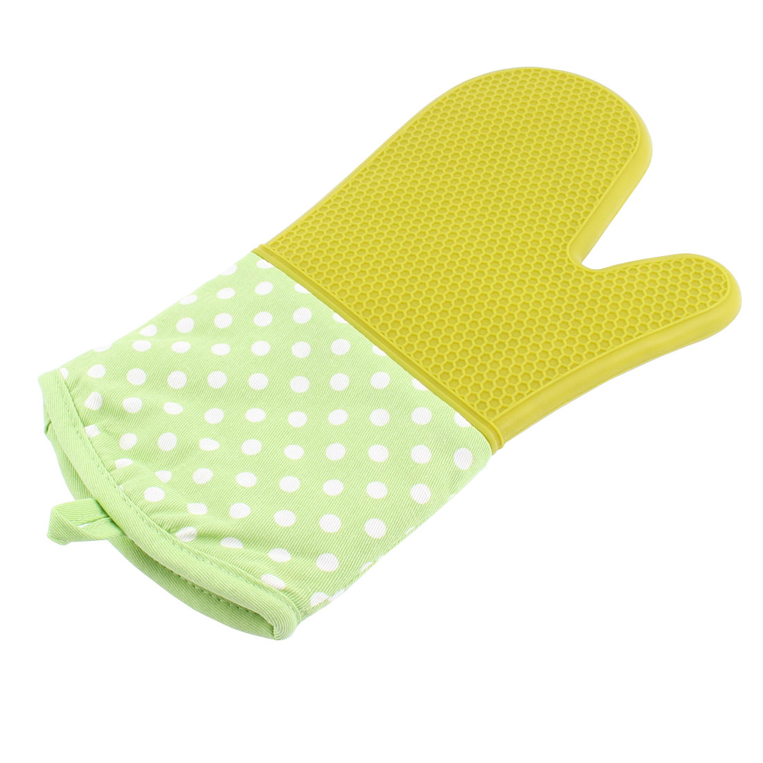 Home Kitchen Dots Pattern Heat Resistance BBQ Oven Mitt Glove Green