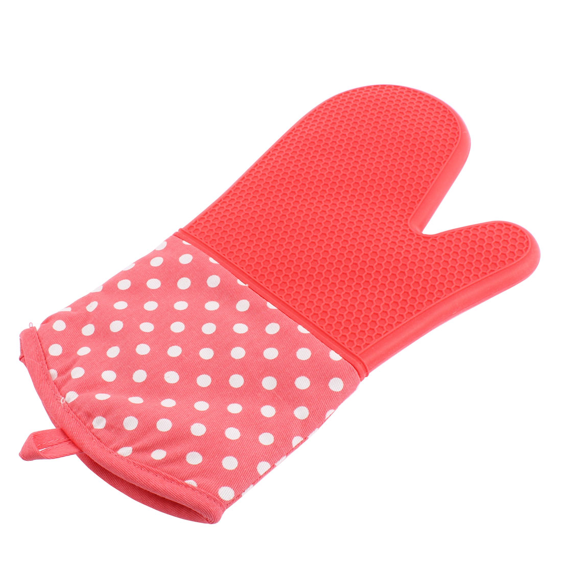 Home Kitchen Dots Pattern Heat Resistance Oven Mitt Glove Pink