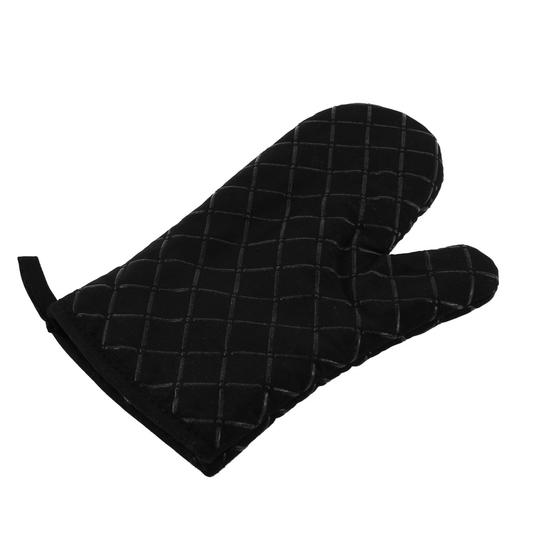 Kitchen Microwave Oven Baking Cross Pattern Heat Resistance Mitten Glove Black