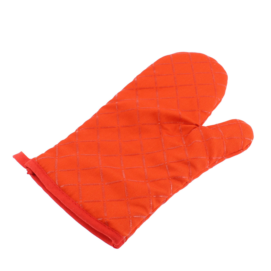 Cross Pattern Non Slip Heat Resistance Oven Mitt Glove Orange Red