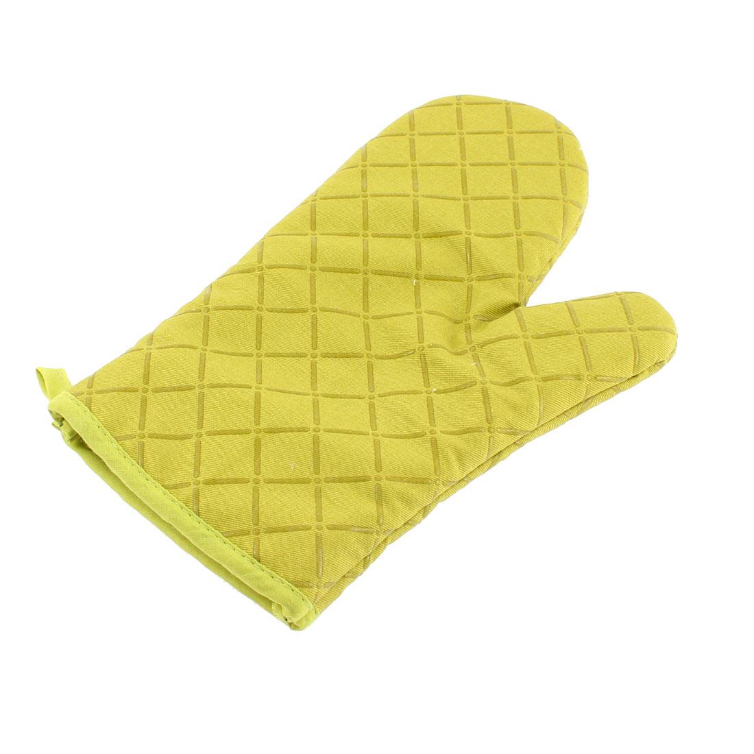 Kitchen Microwave Baking Cross Pattern Heat Resistance Mitten Glove Green