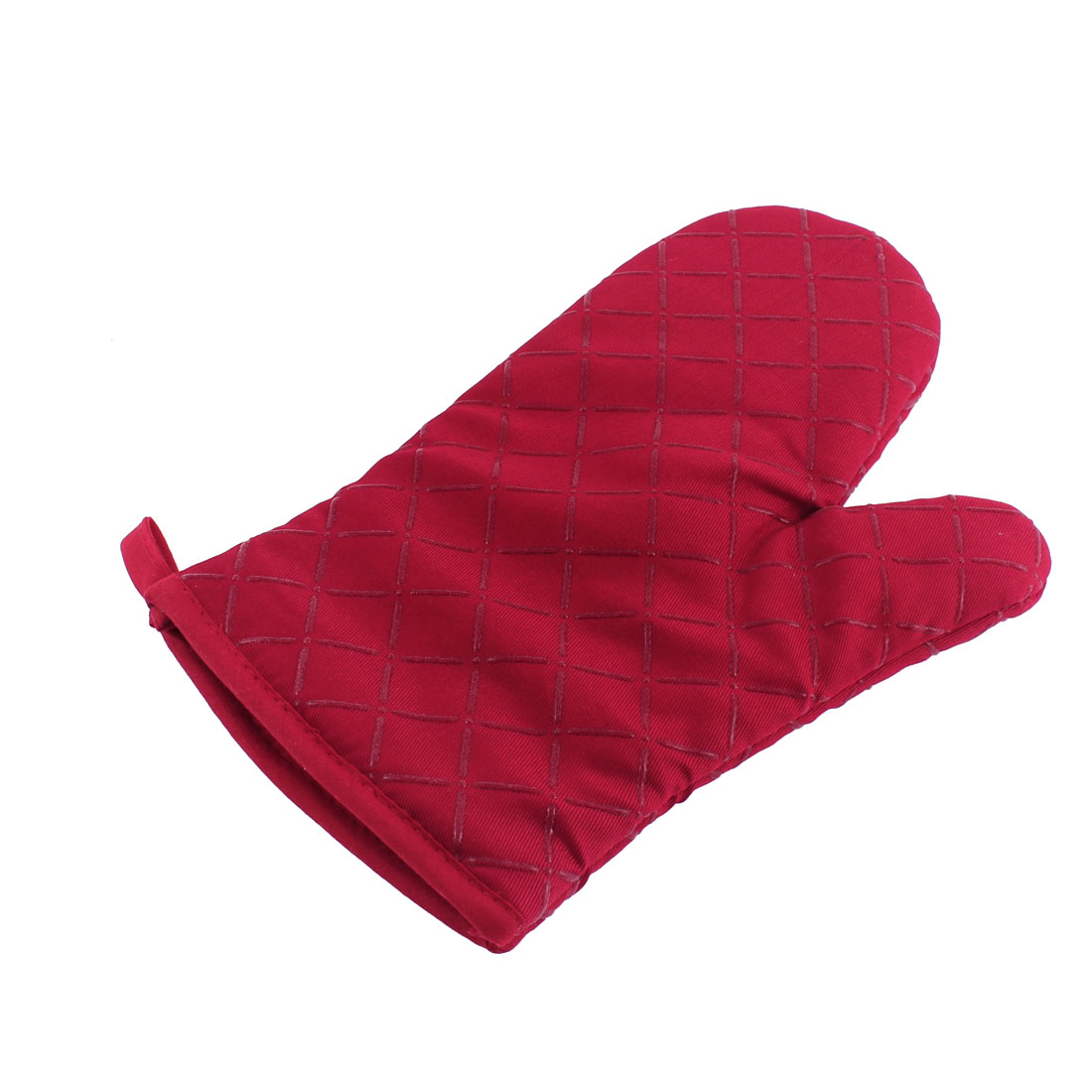 Home Kitchen Cross Pattern Non Slip Heat Resistance Mitt Glove Red